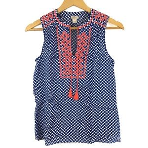 J Crew   Printed embroidered tank top